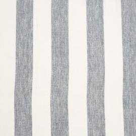 Linen Fabric White Blue Stripes