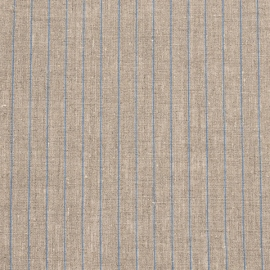 Natural Blue Linen Fabric Stripe Washed