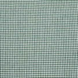 Linen Cotton Fabric Washed Check Green White