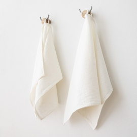 Set of 2 Linen Guest Towels Off White Twill