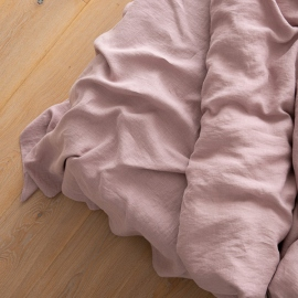 Washed Bed Linen Flat Sheet Dusty Rose