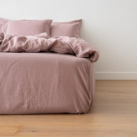 Washed Bed Linen Fitted Sheet Dusty Rose