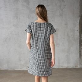 Black White Gingham Linen Dress Alice