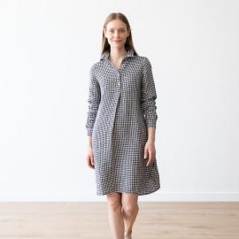 Black White Gingham  Linen Dress Camilla