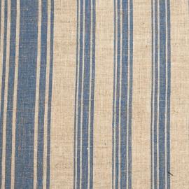 Linen Fabric Multistripe Natural Blue