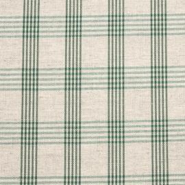 Linen Fabric Check Natural Green