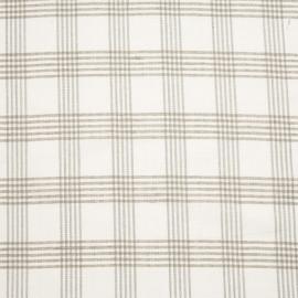 Linen Fabric Check White Natural