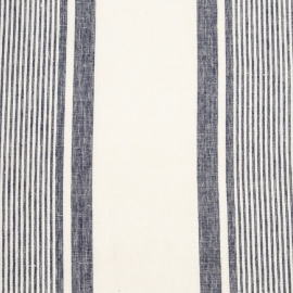 Linen Fabric Sample Multistripe White Navy