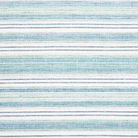 Linen Fabric Multistripe White Blue