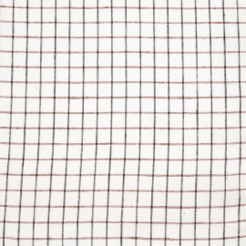 Linen Fabric Check White Red
