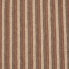 Linen Fabric Prewashed Stripe Brown