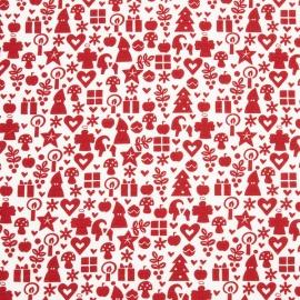 Linen Fabric Sample Print White Red