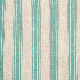 Linen Fabric Sample Stripe Natural Green