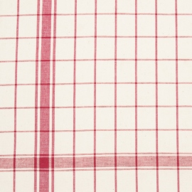 Linen Fabric Sample Check White Red