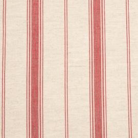 Linen Fabric Sample Multistripe Natural Red
