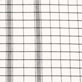 Linen Fabric Sample Check White Black