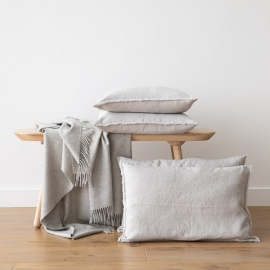 Linen Cushion Cover Silver Terra Fringe