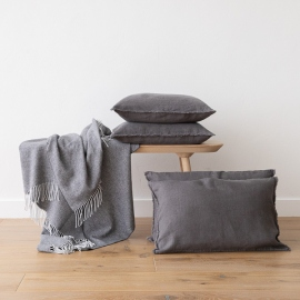 Linen Cushion Cover Steel Grey Terra Fringe