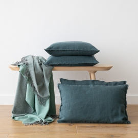 Linen Cushion Cover Balsam Green Terra Fringe