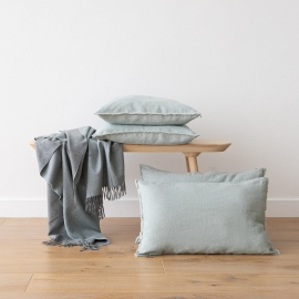 Linen Cushion Cover Sea Foam Terra Fringe
