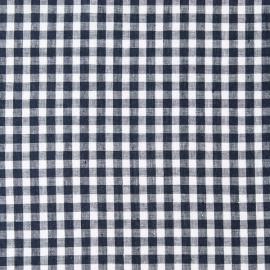 Check Linen Fabric Sample Navy White