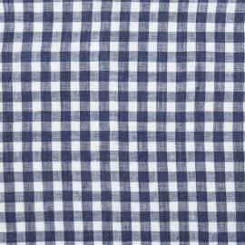 Check Linen Fabric Sample Blue White