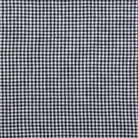 Gingham Linen Fabric Sample Navy White