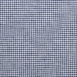 Gingham Linen Fabric Blue White Prewashed