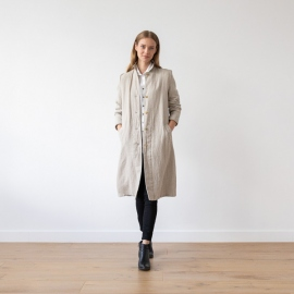 Natural Linen Jacket Long Fabio