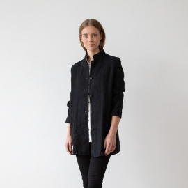 Black Linen Jacket Short Paolo