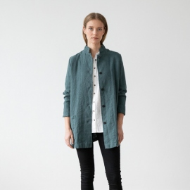 Balsam Green Linen Jacket Short Paolo