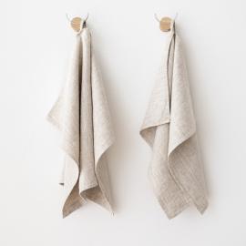 Set of 2 Tea Towels Natural Plain Linen Provence