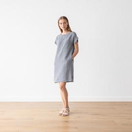 Navy White Linen Dress Gingham Alice