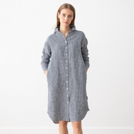 Navy White Linen Dress Gingham Alice