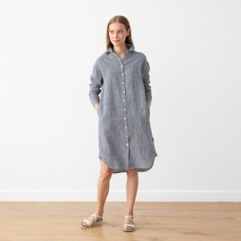 Navy White Gingham Linen Shirt Dress Paula