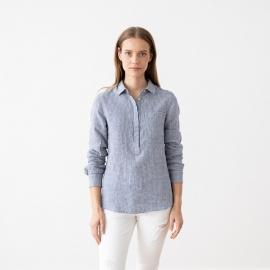 Blue White Gingham Linen Shirt Dress Paula