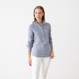 Blue White Linen Shirt Gingham Fabio