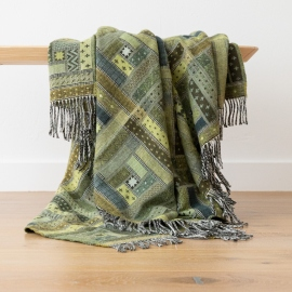 Forest Green Merino Wool Throw Marta