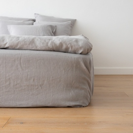Washed Bed Linen Fitted Sheet Deep Pocket Cool Grey
