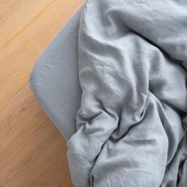 Washed Bed Linen Fitted Sheet Deep Pocket Slate Blue