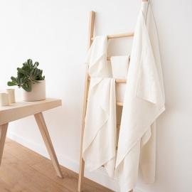 Linen Bath Towel Set Off White Twill