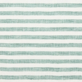 Mint Linen Fabric Prewashed Ticking Stripe