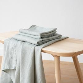 Linen Bath and Hand Towels Set Waffle Sea Foam