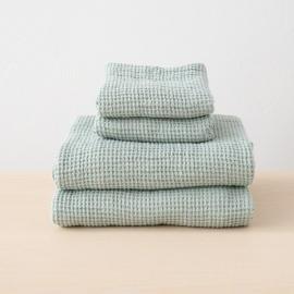 Linen Sea Foam Bath Towels Set Waffle