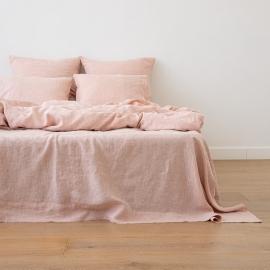 Washed Bed Linen Flat Sheet Melange Rosa