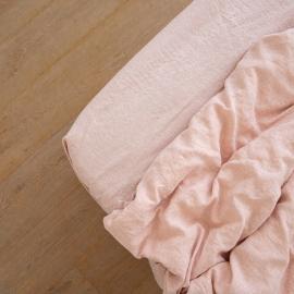 Washed Bed Linen Fitted Sheet Melange Rosa