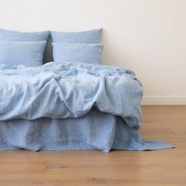 Washed Bed Linen Duvet Melange Blue