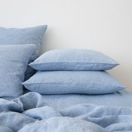 Washed Bed Linen Pillow Case Melange Blue