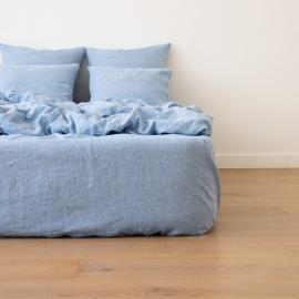 Washed Bed Linen Fitted Sheet Melange Blue