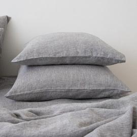 Washed Bed Linen Pillow Case Melange Graphite